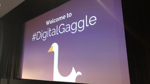 Digital gaggle goose on projector screen