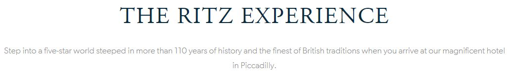 Screenshot of the Ritz website.