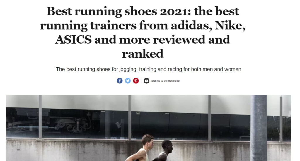 Screenshot of an article detailing the best running shoes for 2021