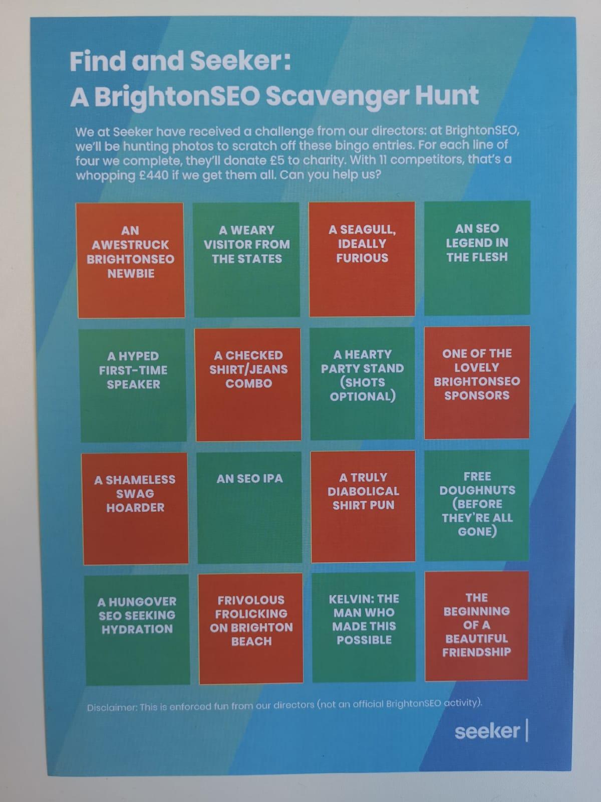 BrightonSEO bingo