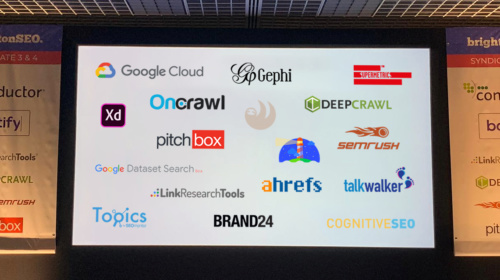 Logos of various useful tools featured at BrightonSEO in April 2019.