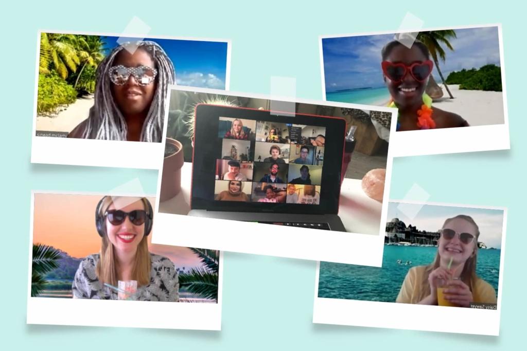The Seeker outreach team having a beach inspired social over zoom