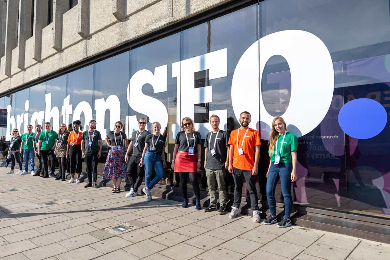 The Seeker team stood outside of BrightonSEO